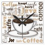 Café en todo el mundo reloj cuadrado