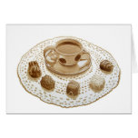 Café express con el cordón del limón y del chocola felicitación