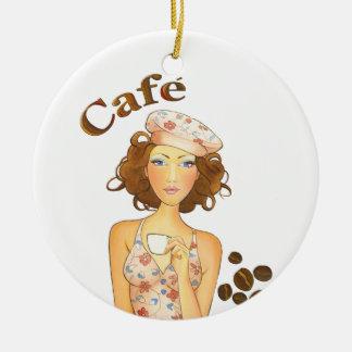 Café express de consumición del chica del café adorno navideño redondo de cerámica