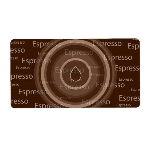 Café express etiqueta de envío