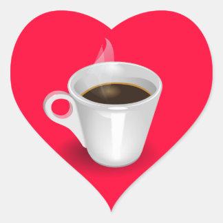 Café express pegatina en forma de corazón