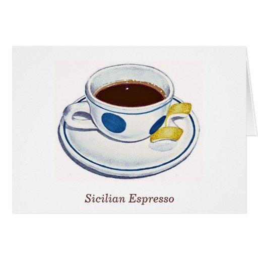 Café express siciliano tarjeta de felicitación