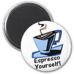 café express-usted mismo imán redondo 5 cm