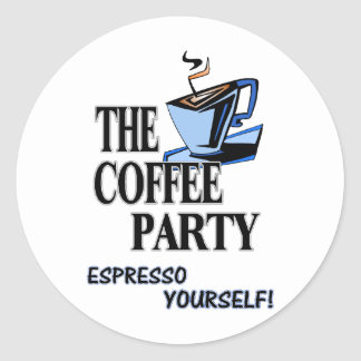¡Café express usted mismo!!! Pegatina Redonda