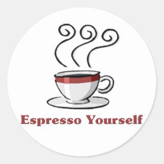 Café express usted mismo pegatina redonda