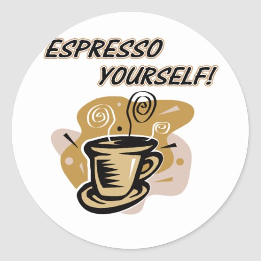 Café express usted mismo pegatinas