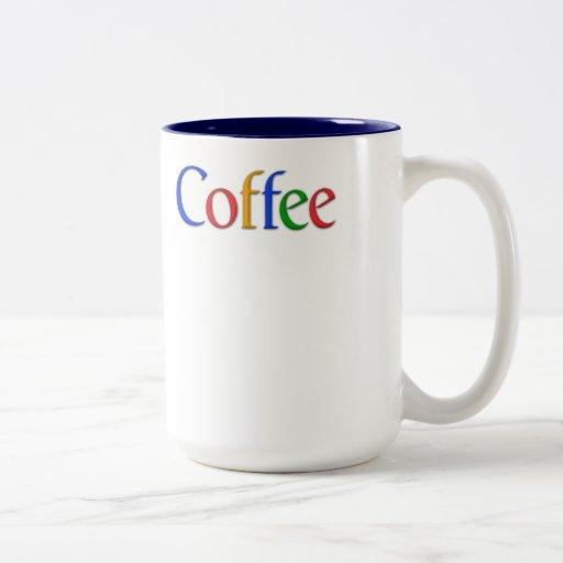 café - fuente de google taza de dos tonos