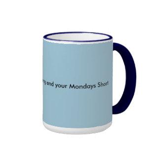 Café fuerte y cortocircuito de lunes taza a dos colores