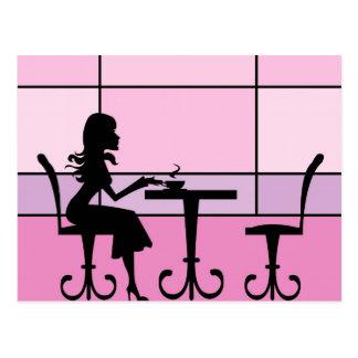 Cafe girl postcard