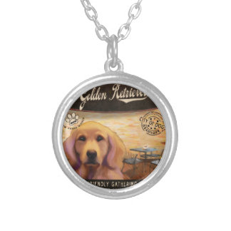 Cafe Golden Retriever Personalized Necklace