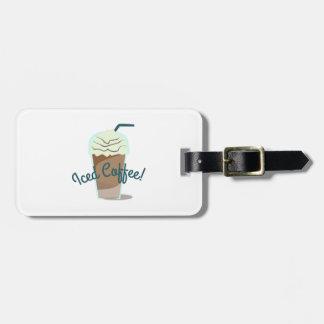 Café helado etiquetas maleta