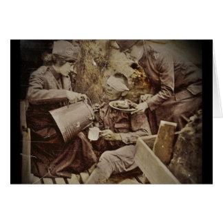 Café herido de servicio del soldado tarjeta de felicitación
