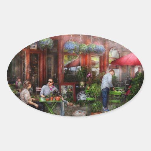 Café - Hoboken, NJ - un día hacia fuera Pegatina Ovalada
