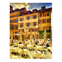 Cafe in Nuechatel Switzerland by Shawna Mac Postcard