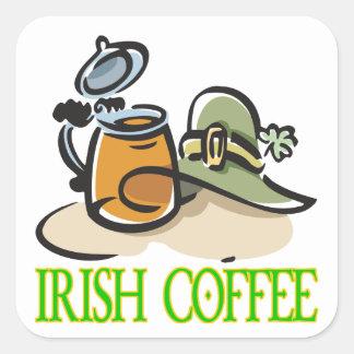 Café irlandés calcomanias cuadradas