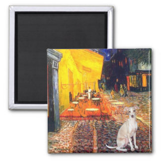 Cafe -Italian Greyhound 5 2 Inch Square Magnet
