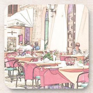 Café italiano de la acera posavasos de bebidas