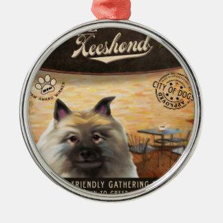 Cafe Keeshond Metal Ornament