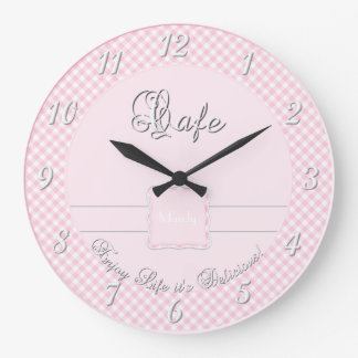 Cafe Kitchen Wall Clock - Chex PINK