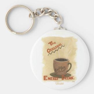 Café - la bebida original de la energía llavero redondo tipo pin