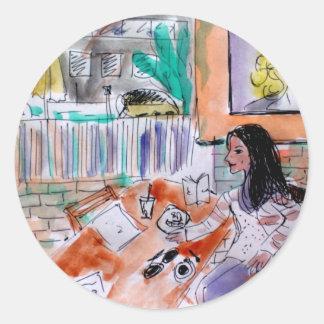 Café La Jolla de los aromas Pegatina Redonda