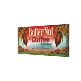 Café LabelOmaha, NE de la nuez de la mantequilla Impresiones En Lienzo Estiradas