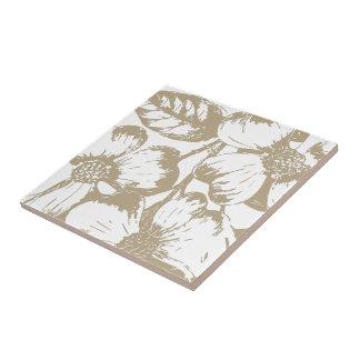 Cafe Latte Dogwood Floral Ceramic Tile
