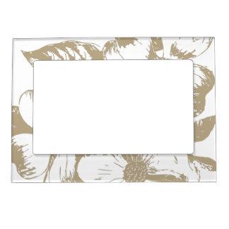 Cafe Latte Dogwood Floral Magnetic Frame