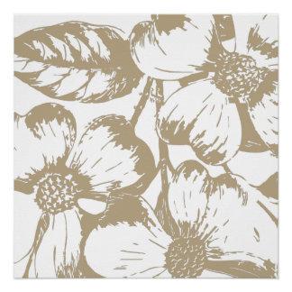 Cafe Latte Dogwood Floral Poster