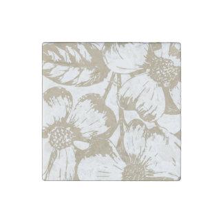 Cafe Latte Dogwood Floral Stone Magnet