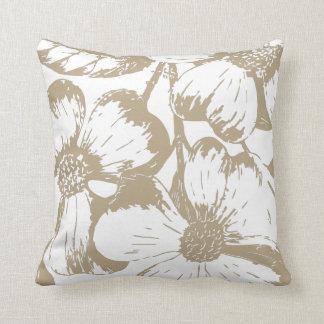 Cafe Latte Dogwood Floral Throw Pillow