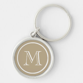 Cafe Latte Solid Color White Custom Monogram Keychain