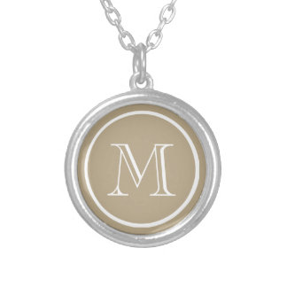 Cafe Latte Solid Color White Custom Monogram Silver Plated Necklace