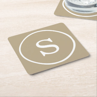Cafe Latte Solid Color White Monogram Square Paper Coaster