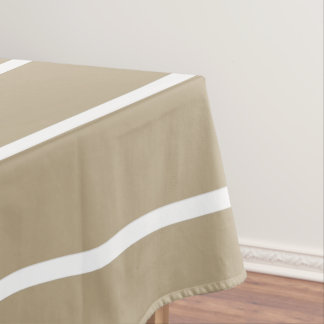 Cafe Latte White Pinstripe Tablecloth