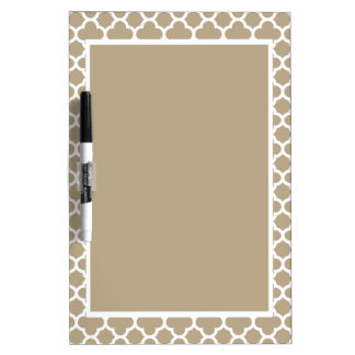 Cafe Latte White Quatrefoil Dry Erase Board