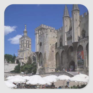 Cafe, Le Palais des Papes, Avignon, Vaucluse, Square Sticker
