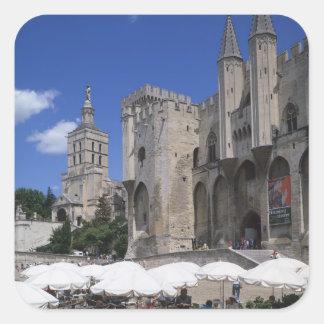 Cafe, Le Palais des Papes, Avignon, Vaucluse, Square Stickers