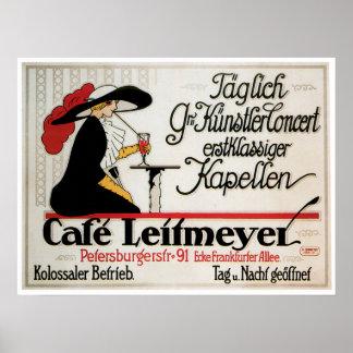 Cafe Leitmeyer Vintage Cafe Drink Ad Art Poster