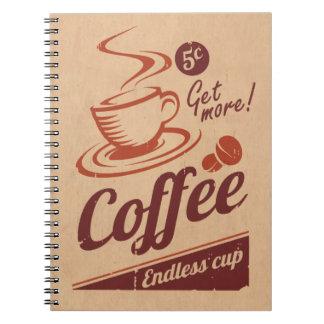 Café Libros De Apuntes Con Espiral