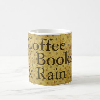 Café, libros, y lluvia taza clásica