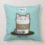 Café lindo del gato almohada