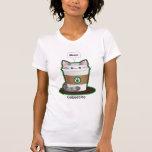 Café lindo del gato camisetas