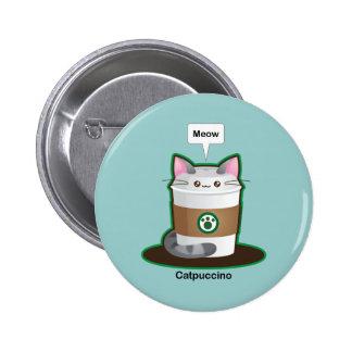 Café lindo del gato pin redondo de 2 pulgadas