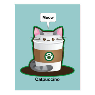 Café lindo del gato postales