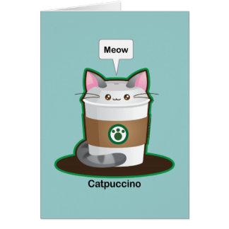Café lindo del gato tarjeta de felicitación