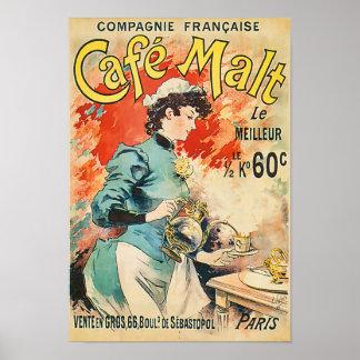 Cafe Malt le Meilleur Coffee Vintage Advertisement Poster