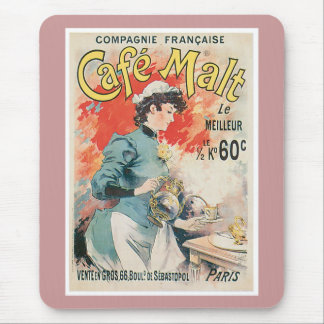 Cafe Malt Vintage Coffee Drink Ad Art Mousepads