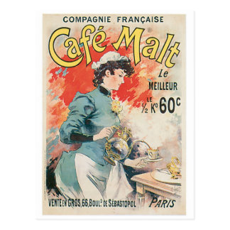 Cafe Malt Vintage Coffee Drink Ad Art Postcard