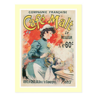Cafe Malt Vintage Coffee Drink Ad Art Post Cards